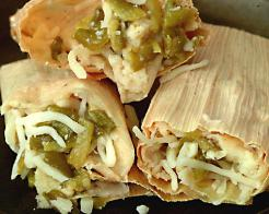 New Mexico Green Chile and Cheese Tamales